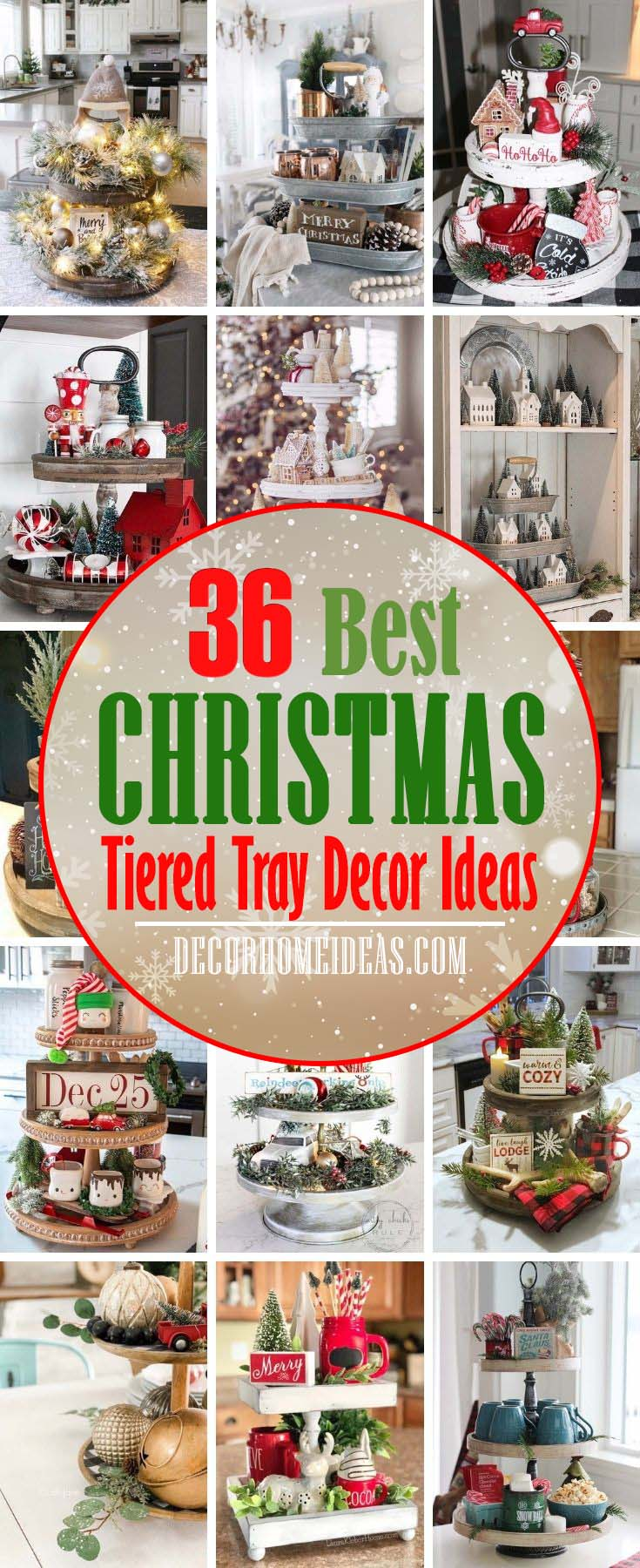 Best Tiered Tray Christmas Decor Ideas. From farmhouse Christmas tiered tray decor ideas to rustic Christmas tiered trays, there are plenty of tiered tray Christmas decor ideas to choose from. #decorhomeideas