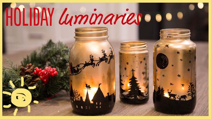 Black and Gold Canning Jar Silhouette Candles #Christmas #dollarstore #diy #decorhomeideas