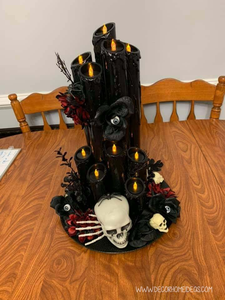 Black Pool Noodle Halloween Centerpiece With Skull
