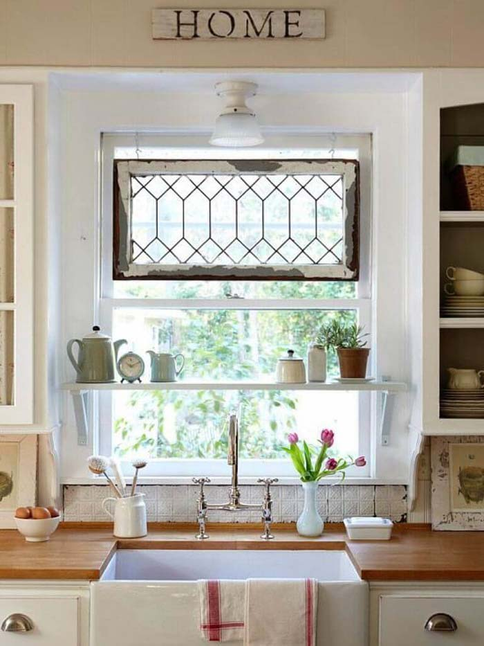 Build a Shelf in Front of Your Window #kitchen #countertop #organization #decorhomeideas
