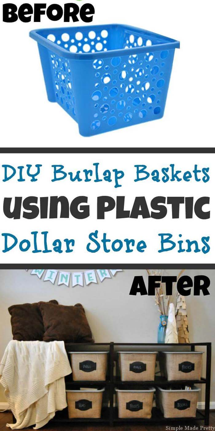 Burlap DIY Dollar Tree Storage Bins #dollarstore #diy #homedecor #decorhomeideas