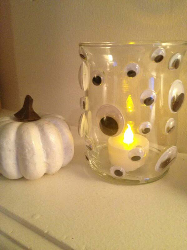 Candle Holders with Eyes #Halloween #Dollarstore #crafts #decorhomeideas
