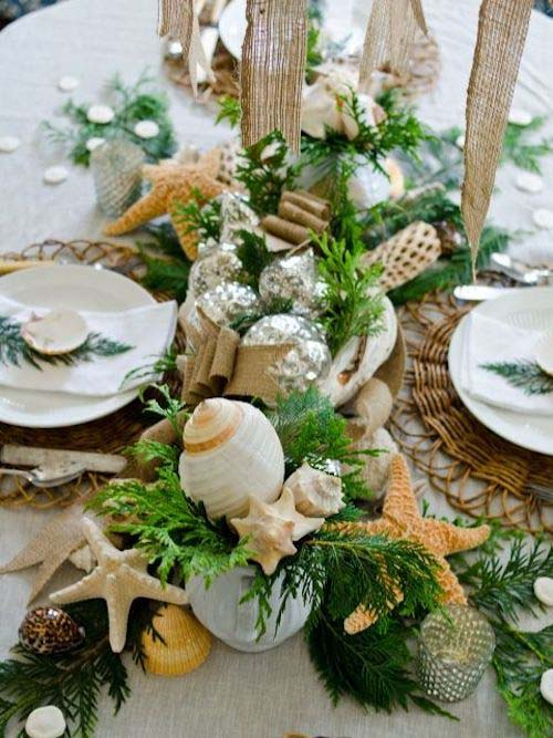 Chic Coastal Holiday Table #diy #coastal #christmas #decorhomeideas