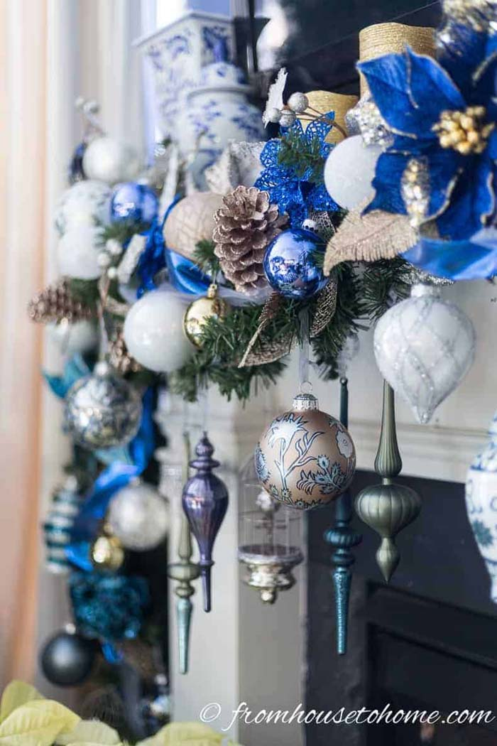 Christmas Garland For The Fireplace Mantel #Christmas #blue #decorations #decorhomeideas