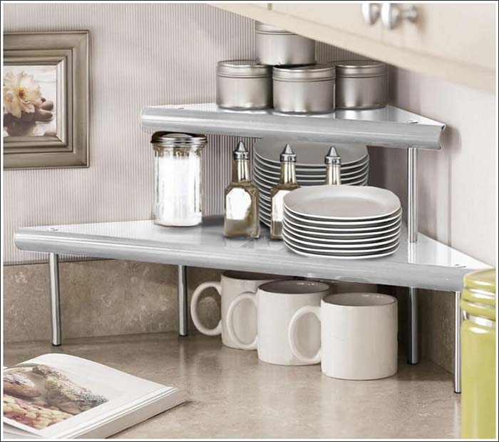 Clever Corner Shelving for Mugs and Plates #kitchen #countertop #organization #decorhomeideas