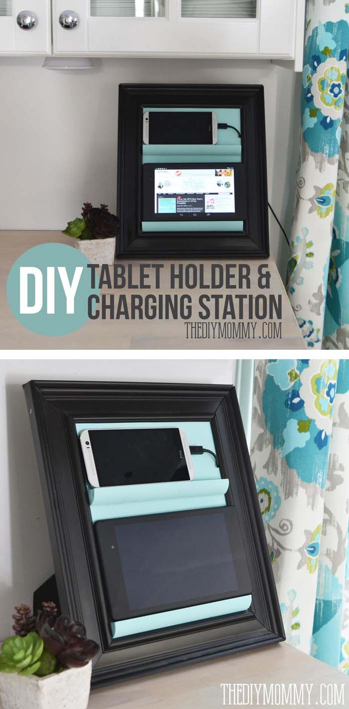 Counter Top Phone Charging Station & Tablet Holder #dollarstore #diy #homedecor #decorhomeideas