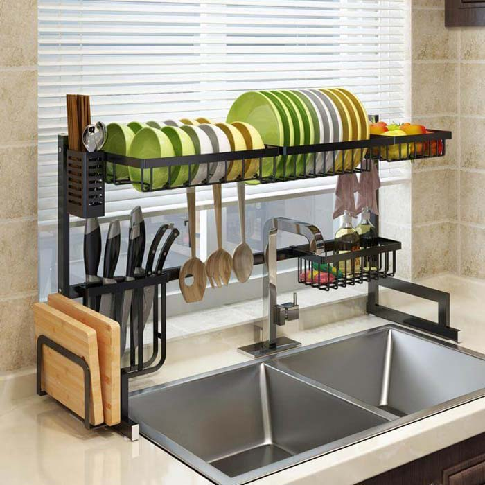 Dish Sink Drain Rack #smallkitchen #storage #organization #decorhomeideas
