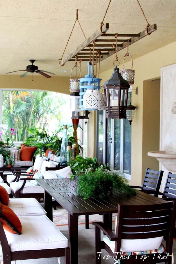 Distinctive Lighting for Outdoor Dining #diy #ladder #repurpose #decorhomeideas