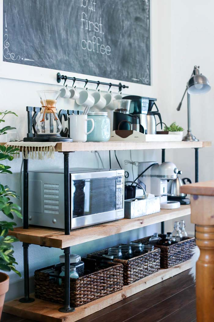 DIY Black Pipe Coffee Bar Station #smallkitchen #storage #organization #decorhomeideas
