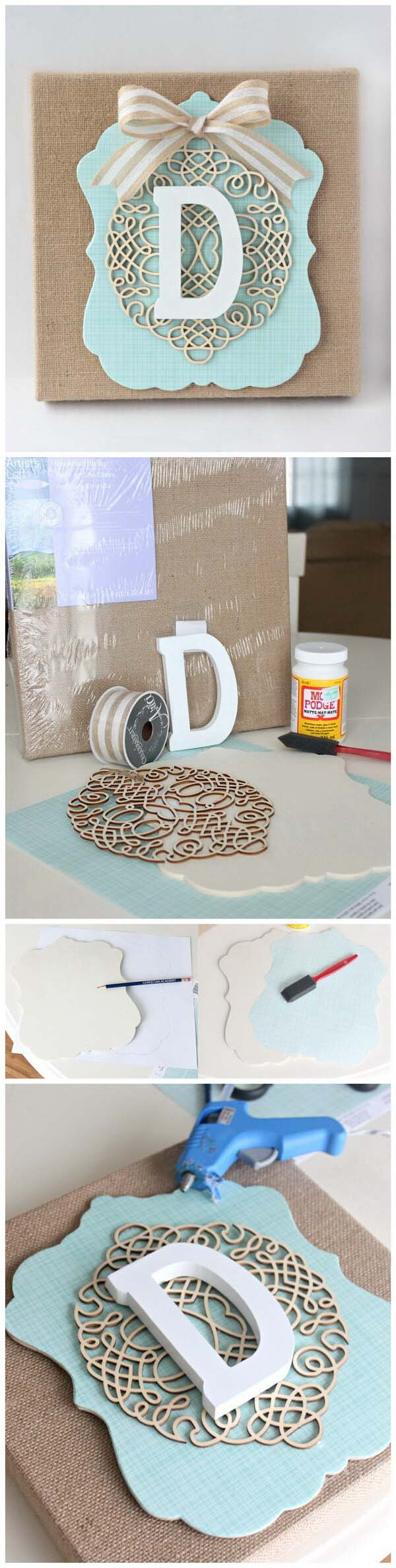 DIY Burlap Monogram #dollarstore #diy #homedecor #decorhomeideas