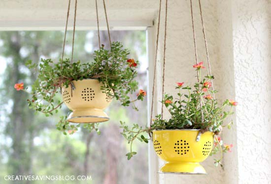 DIY Colander Planter #planter #olditems #kitchen #decorhomeideas