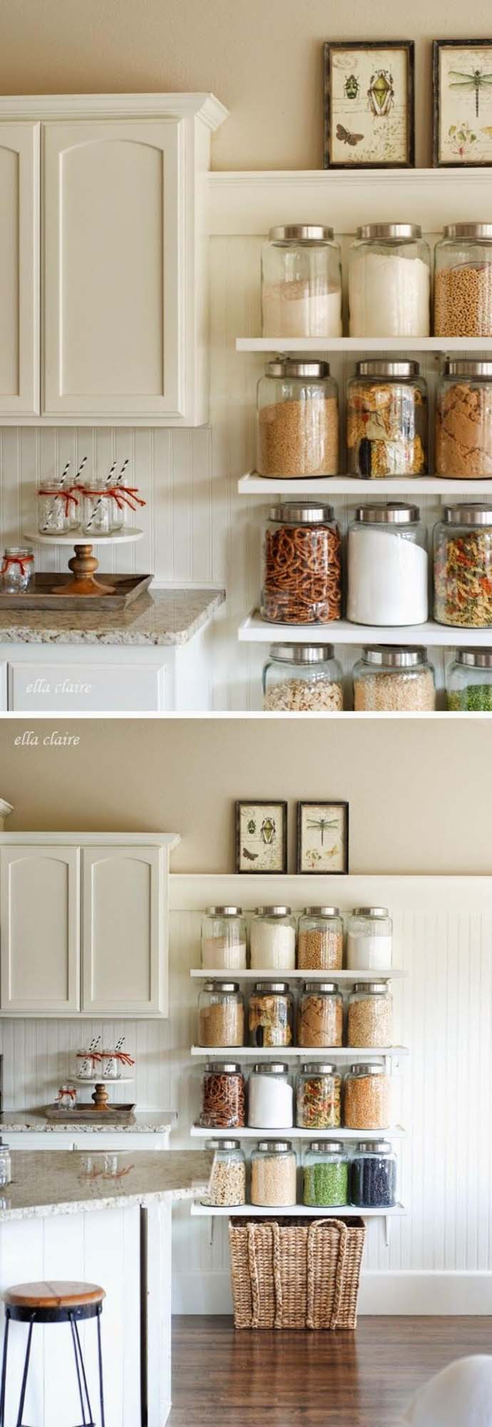 DIY Country Store Kitchen Shelves #smallkitchen #storage #organization #decorhomeideas