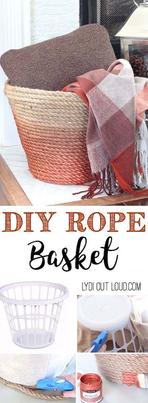 DIY Metallic Rope Throw Basket Tutorial #dollarstore #diy #homedecor #decorhomeideas