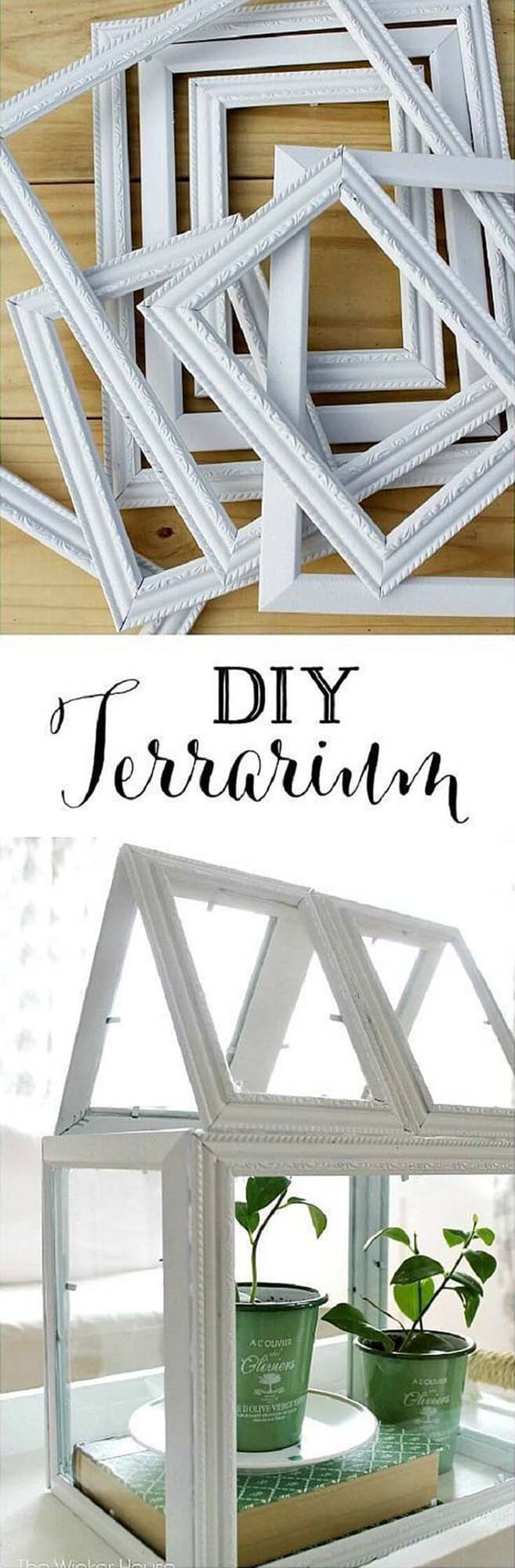 DIY Picture Frame Greenhouse Terrarium #dollarstore #diy #homedecor #decorhomeideas
