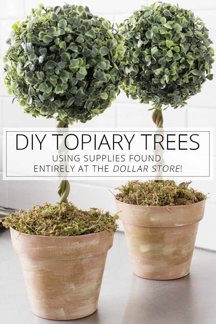 DIY Topiary Trees From Dollar Store Supplies #dollarstore #diy #homedecor #decorhomeideas