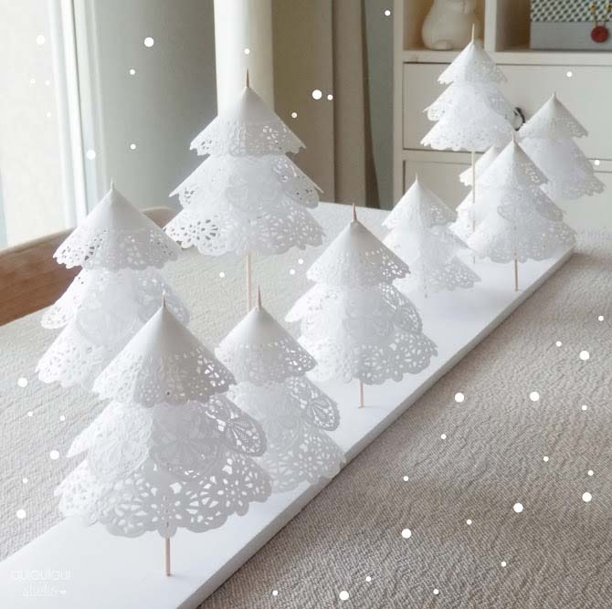 Doily Christmas Tree Forest #Christmas #tree #crafts #decorhomeideas