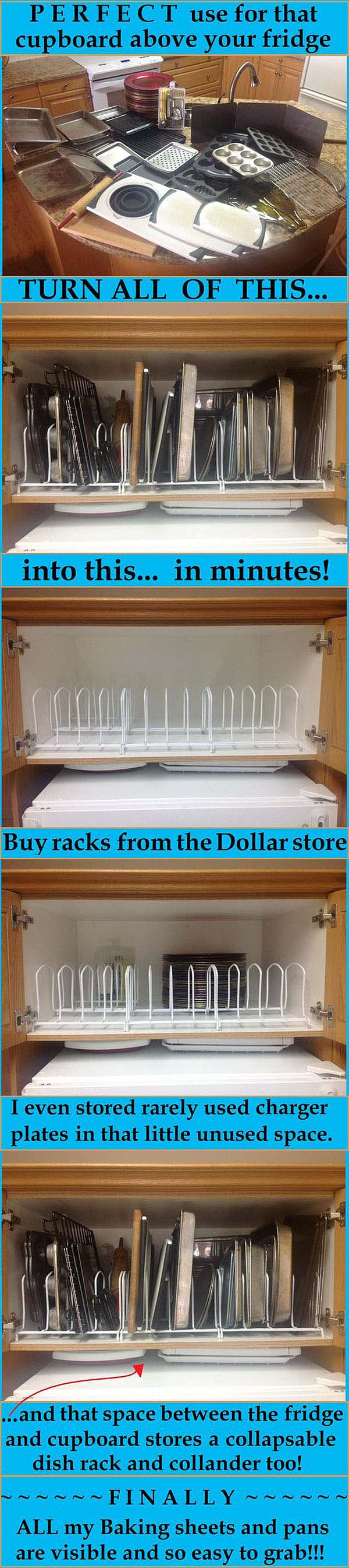 Dollar Store Dish Racks To Separate The Pans #smallkitchen #storage #organization #decorhomeideas