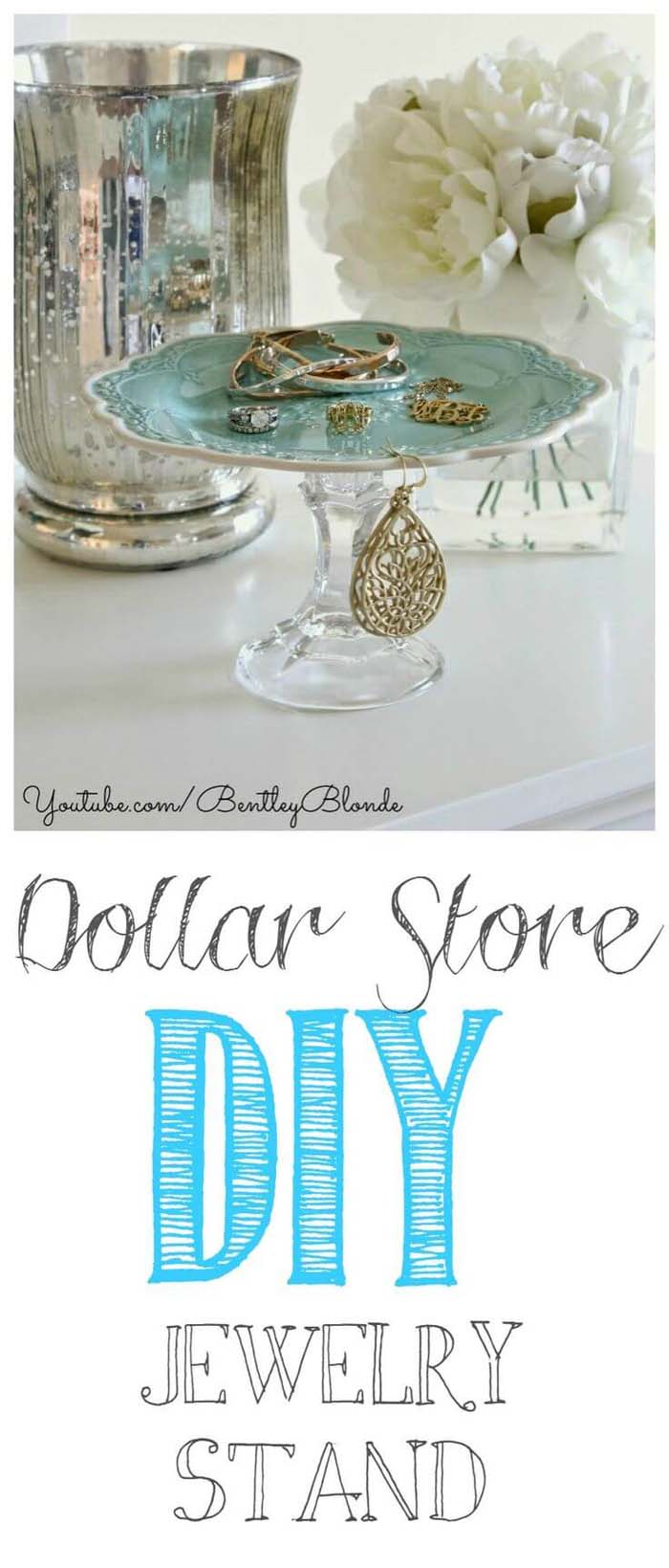 Dollar Store DIY Make Up and Jewelry Stand #dollarstore #diy #homedecor #decorhomeideas