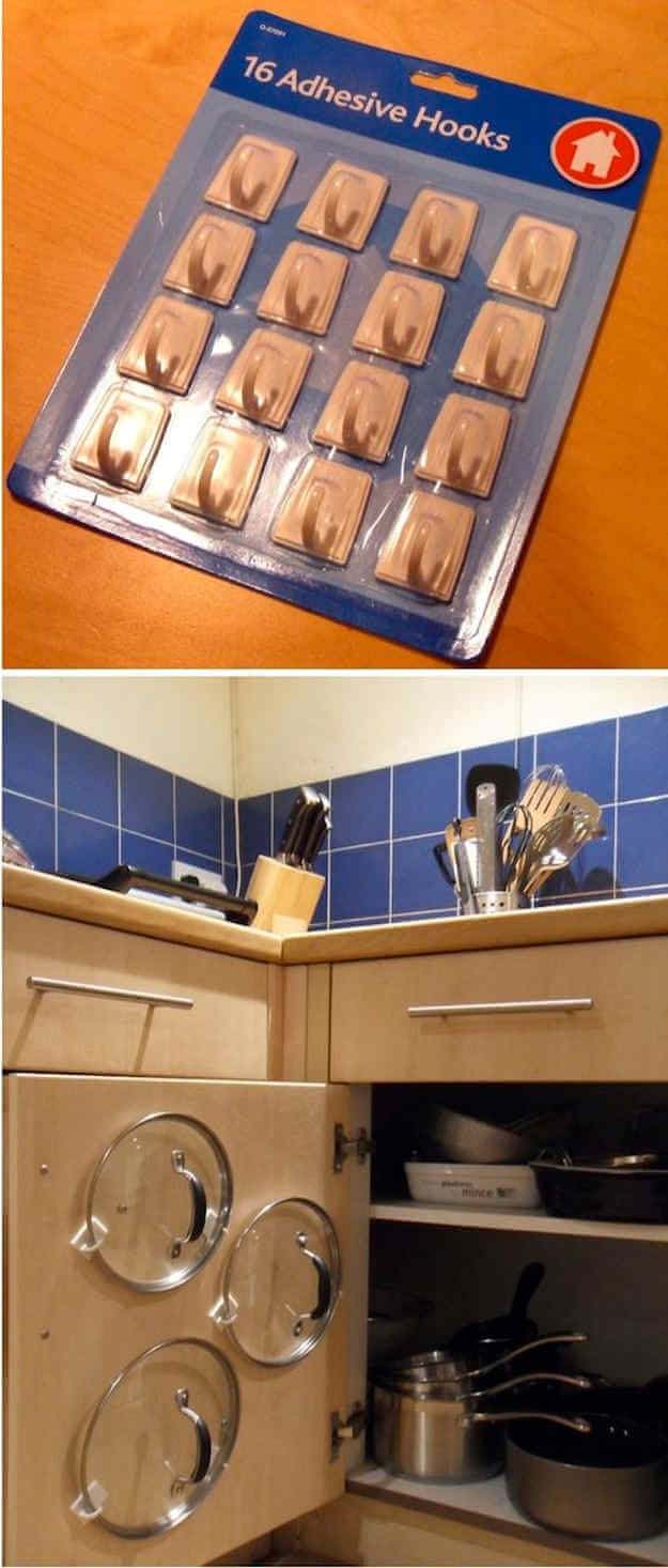 Easiest Cupboard Pan Lid Organiser #smallkitchen #storage #organization #decorhomeideas