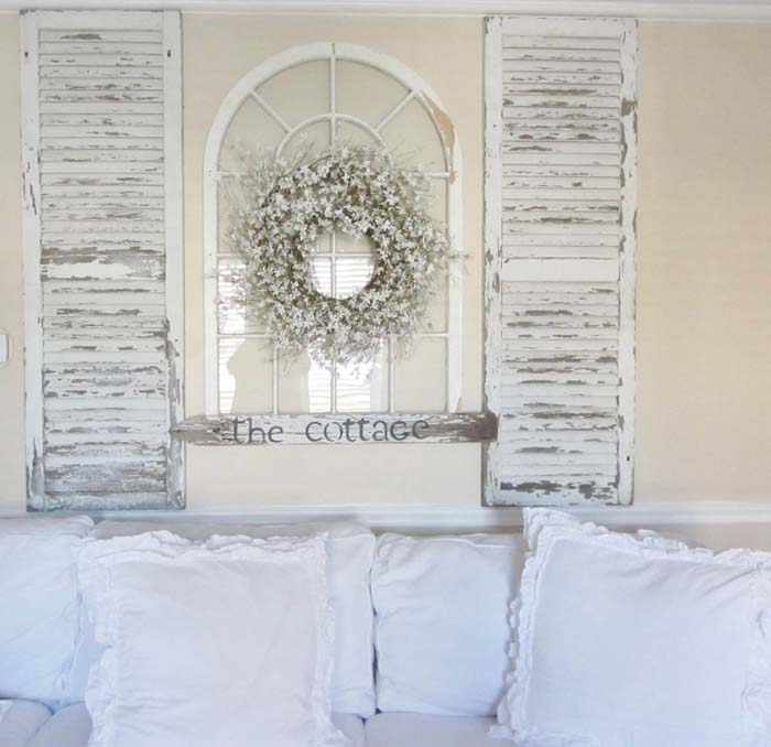 Easy Headboard From Whitewashed Shutters And Window Frame #bedroom #vintage #decor #decorhomeideas
