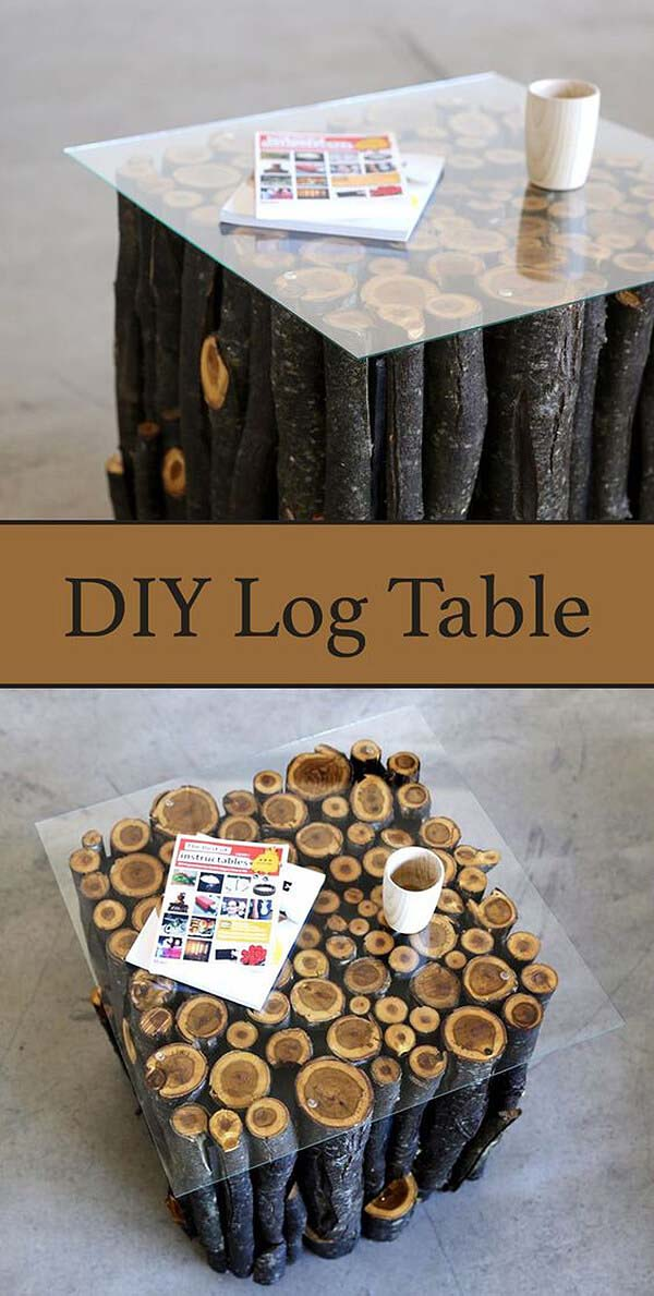 Easy Log Table With Glass Cover #diy #wood #crafts #decorhomeideas