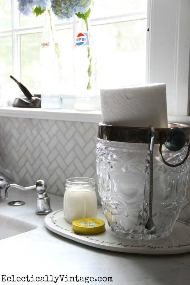 Elegant Cut Glass Holder for Paper Towels #kitchen #countertop #organization #decorhomeideas