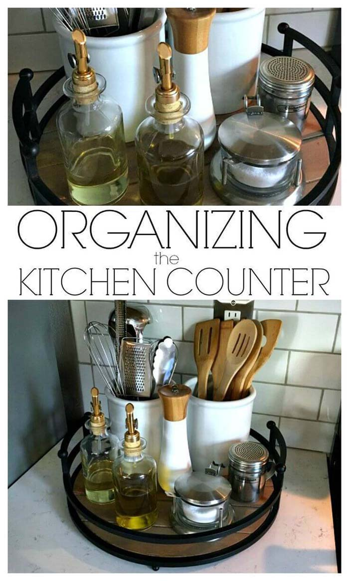 Everyday Kitchen Essentials on a Lazy Susan #smallkitchen #storage #organization #decorhomeideas
