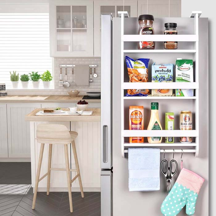 Fridge Side Shelf Refrigerator Spice Storage #smallkitchen #storage #organization #decorhomeideas
