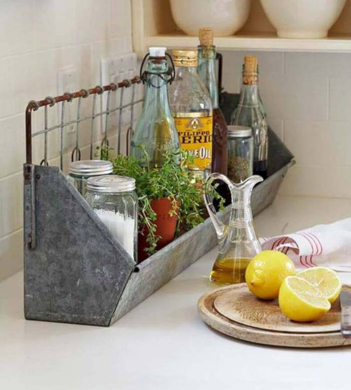Galvanized Metal Tray for Oils and Seasonings #kitchen #countertop #organization #decorhomeideas