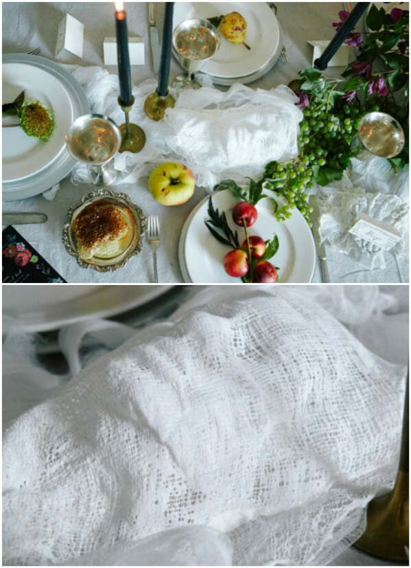 Ghostly Tablecloth #Halloween #Dollarstore #crafts #decorhomeideas