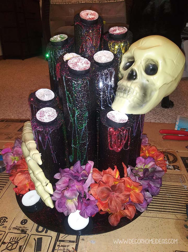 Glitter Covered Halloween Centerpiece Pool Noodles