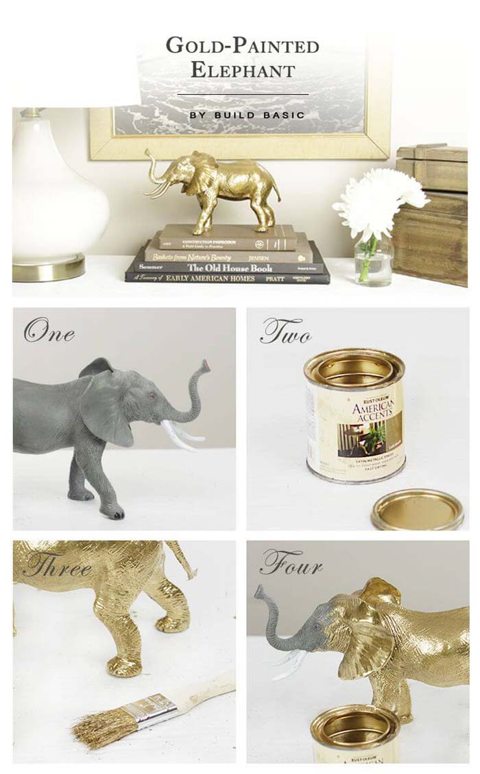Gold-Painted Elephant #dollarstore #diy #homedecor #decorhomeideas