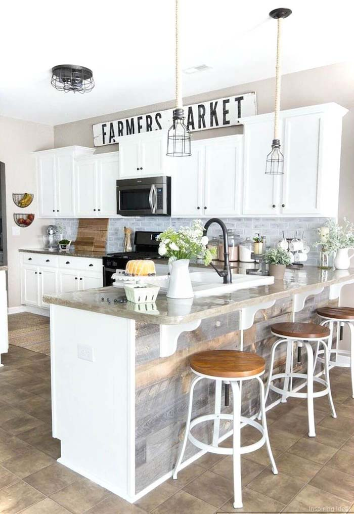 Grayscale and White Cabinets with Black Accents #farmhouse #kitchen #cabinet #decorhomeideas