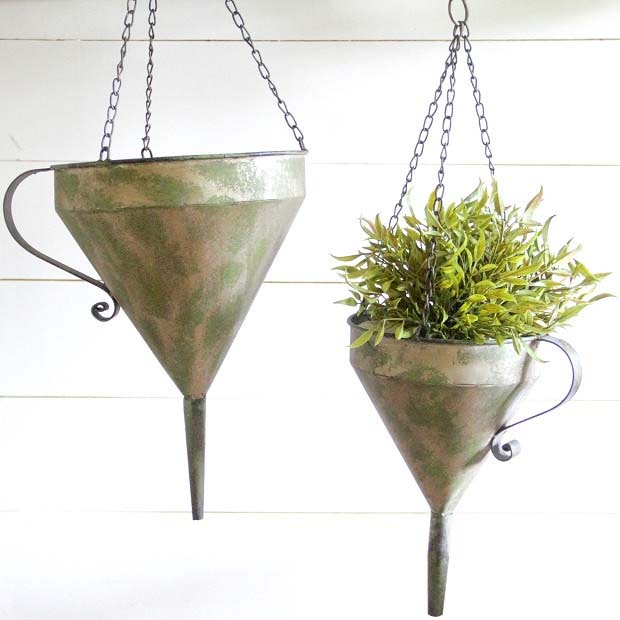 Hanging Funnel Planter #planter #olditems #kitchen #decorhomeideas
