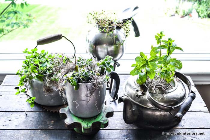 Herbs in Old Kettle #planter #olditems #kitchen #decorhomeideas