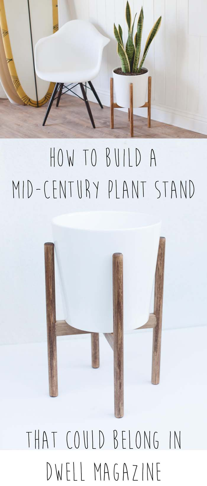 How to Build a Midcentury-Inspired Plant Stand #diy #wood #crafts #decorhomeideas