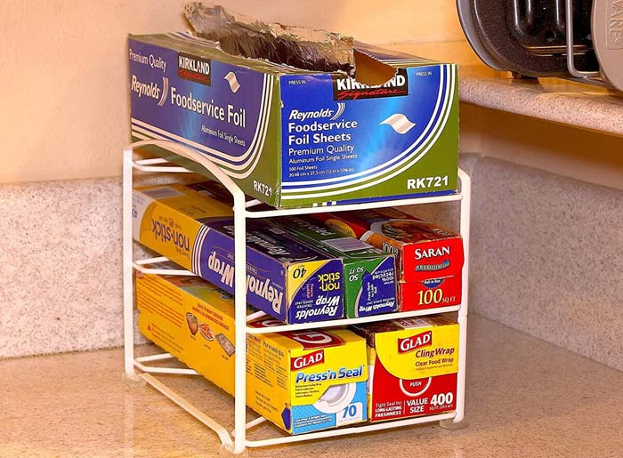 Kitchen Wrap Organizing Rack with Three Shelves #smallkitchen #storage #organization #decorhomeideas