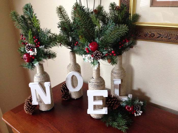 Letter and Twine Wine Bottles #Christmas #dollarstore #diy #decorhomeideas