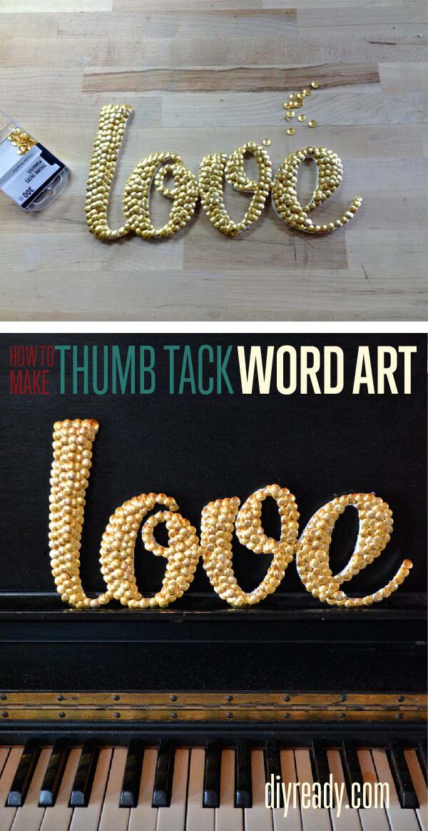 Letter Art with Thumb Tacks #dollarstore #diy #homedecor #decorhomeideas