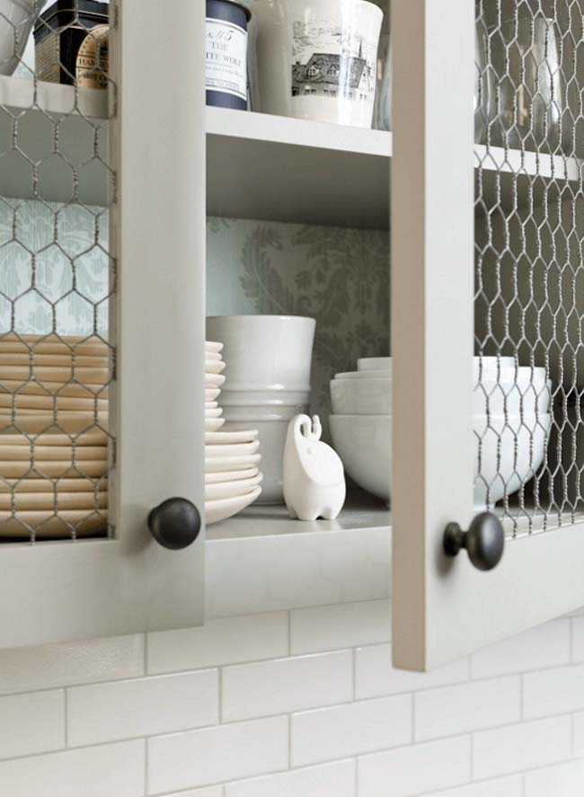 Light Olive Chicken Wire Open-Face Cabinets #farmhouse #kitchen #cabinet #decorhomeideas