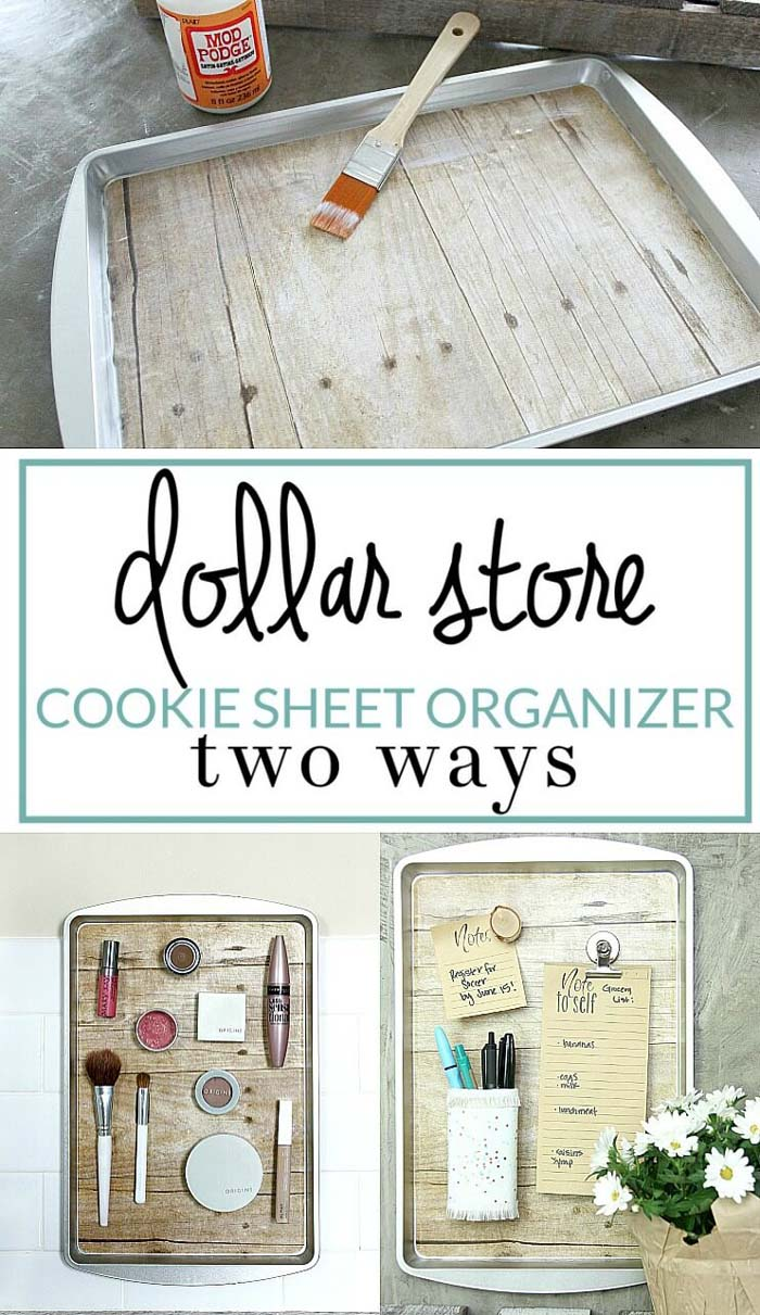 Magnetic Organizer from a Dollar Store Cookie Sheet #dollarstore #diy #homedecor #decorhomeideas