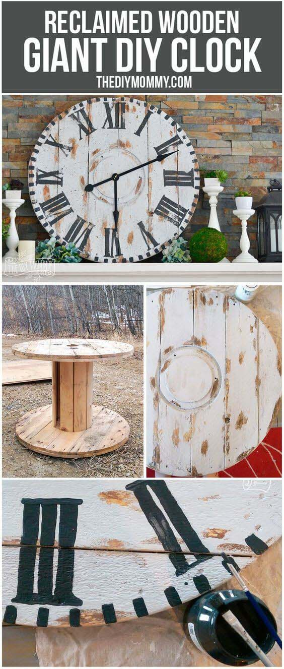 Make a Giant Reclaimed Wood Clock from an Electrical Reel #diy #wood #crafts #decorhomeideas