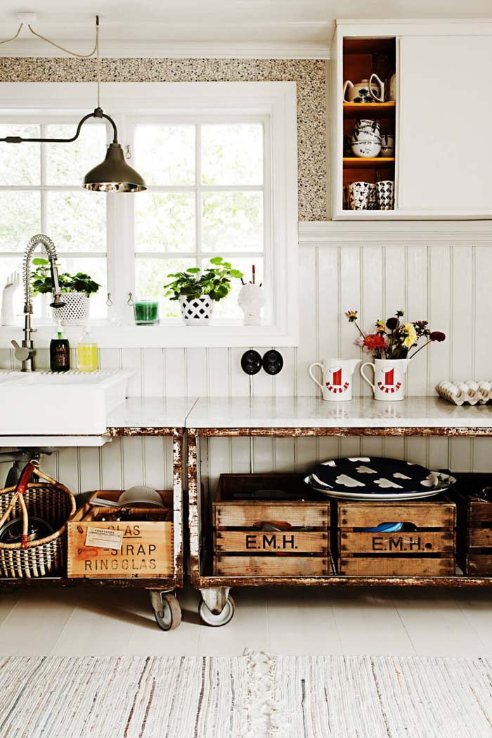 Metal Rolling Cabinets with Crate Storage #farmhouse #kitchen #cabinet #decorhomeideas