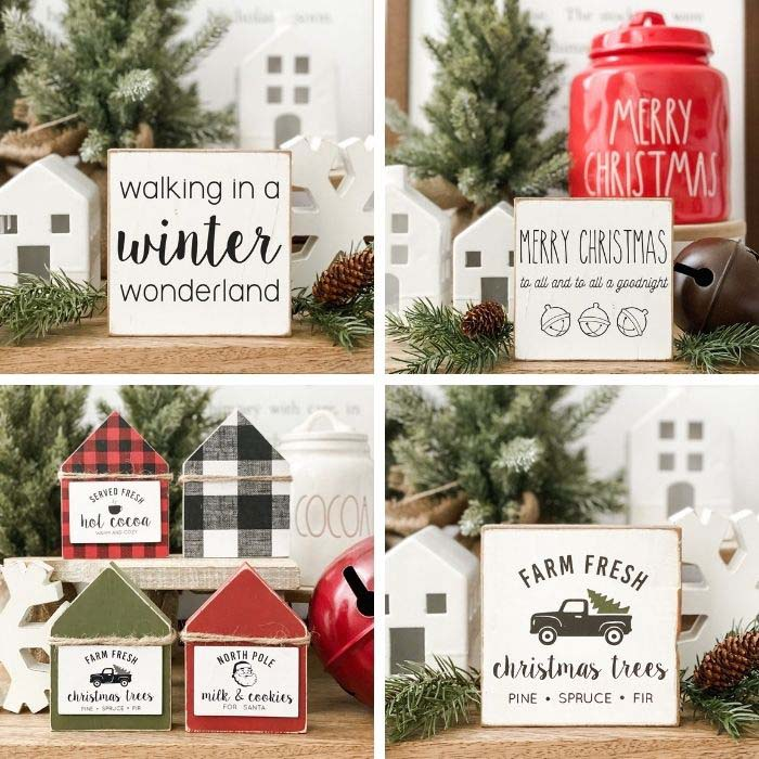 Mini Wood House Hot Cocoa Signs #tieredtray #Christmas #decorhomeideas