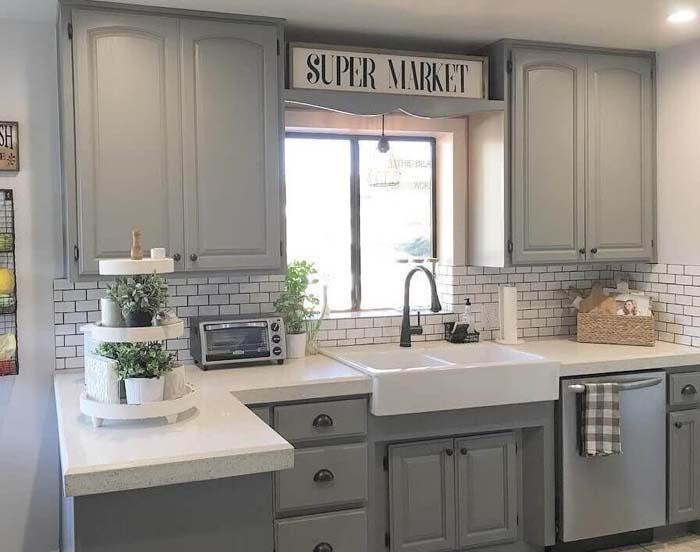 Modern Farmhouse Light Gray Cabinets #farmhouse #kitchen #cabinet #decorhomeideas