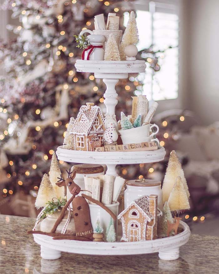 Neutral Gingerbread Tiered Tray #tieredtray #Christmas #decorhomeideas