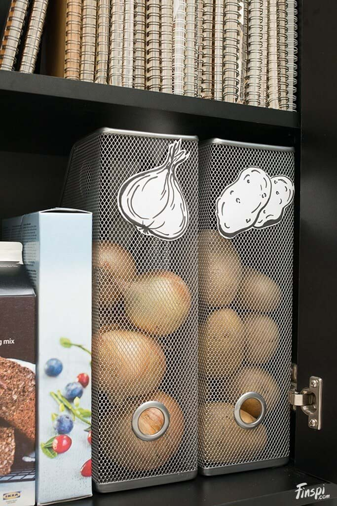 Onion and Potato Storage for Your Shelves #smallkitchen #storage #organization #decorhomeideas