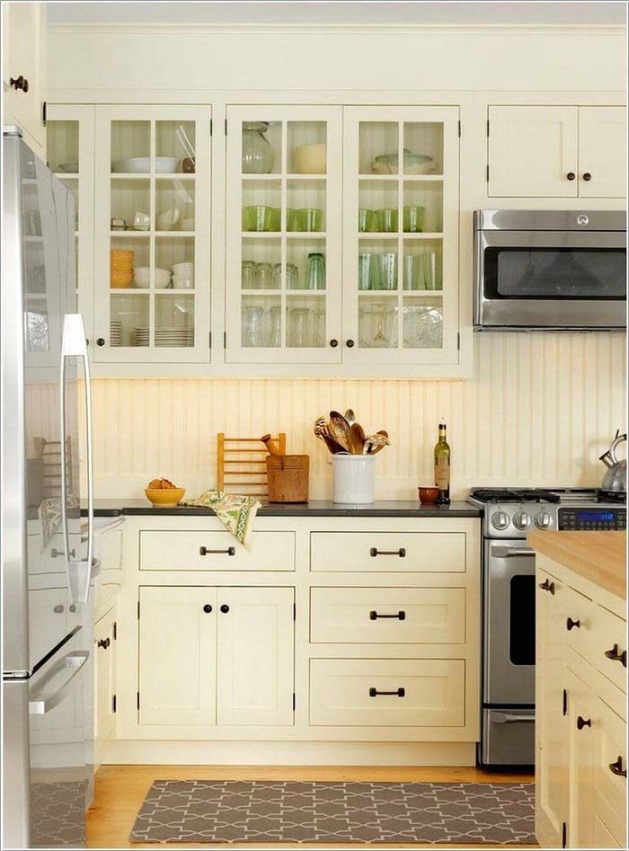 Open-Face White Paneled Kitchen Cabinets #farmhouse #kitchen #cabinet #decorhomeideas