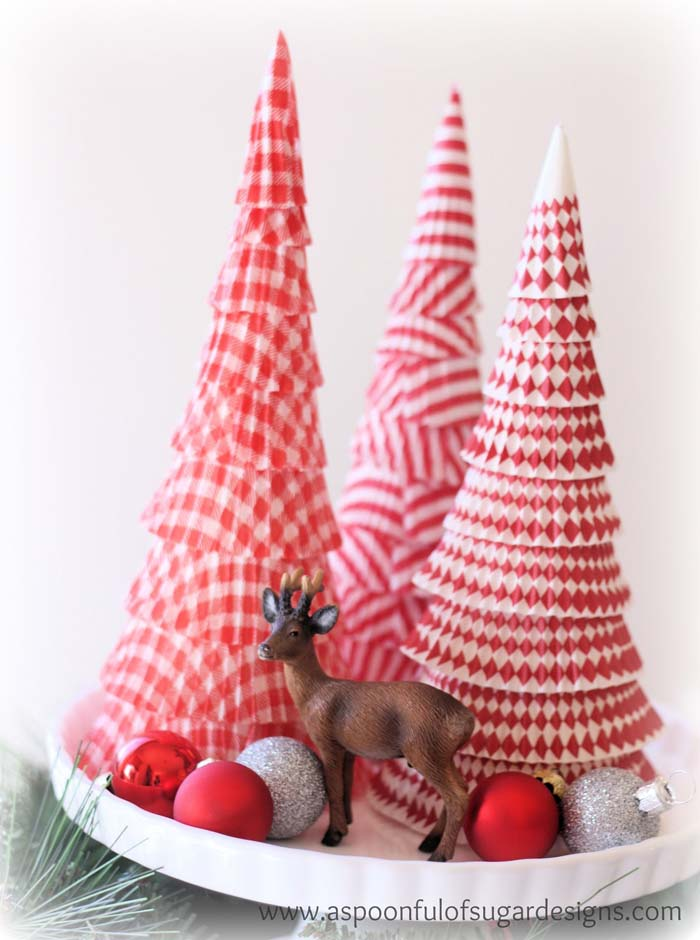 Paper Christmas Trees #Christmas #tree #crafts #decorhomeideas