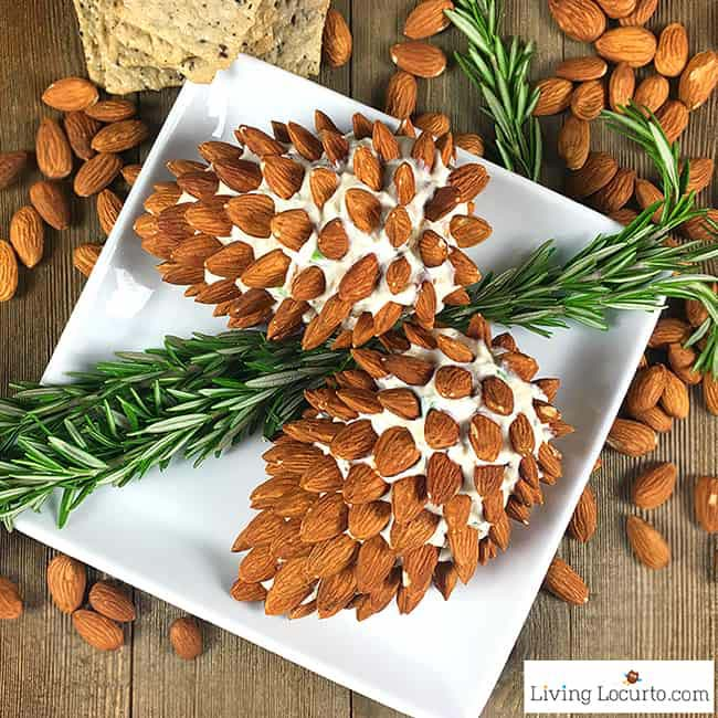 Pine Cone Cheese Ball with Almonds #Christmas #cheeseball #cheese #appetizers #decorhomeideas